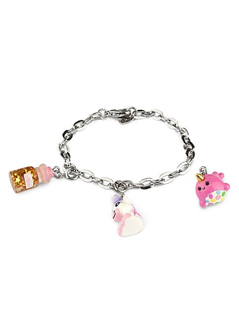 """Image of EXCLUSIVELY AT SAKS FIFTH AVENUE. This bracelet features interchangeable charms and an included gift box. Three 3D charms. Silvertone bracelet. CHARM IT! gift box. Enamel, acrylic, glitter, base metal. Charms diameter, about 1"""".Adjustable length, about 7."""