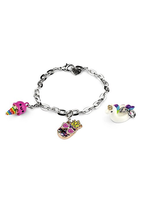 """Image of EXCLUSIVELY AT SAKS FIFTH AVENUE. This bracelet features interchangeable charms and an included gift box. Three 3D charms. Silvertone bracelet. CHARM IT! gift box. Enamel, acrylic, glitter, poly resin, base metal. Charms diameter, about 1"""".Adjustable leng"""