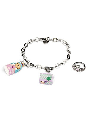 "Image of ONLY AT SAKS This bracelet features interchangeable charms and an included gift box Three 3D charms Silvertone bracelet CHARM IT! gift box Enamel, acrylic, glitter, poly resin, base metal Charms diameter, about 1"" Adjustable length, about 7.5"" Lobster cla"