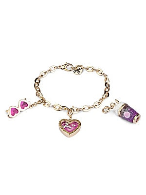 """Image of ONLY AT SAKS This bracelet features interchangeable charms and an included gift box Three 3D charms Goldtone bracelet CHARM IT! gift box Enamel, acrylic, glitter, poly resin, base metal Charm diameter, about 1"""" Adjustable length, about 7.5"""" Lobster clasp"""