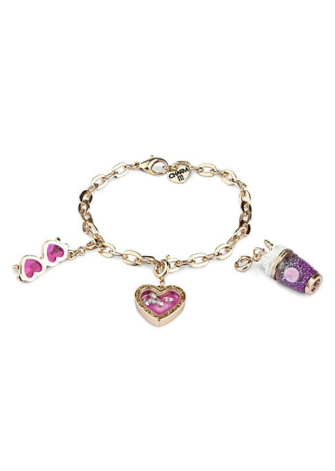 """Image of EXCLUSIVELY AT SAKS FIFTH AVENUE. This bracelet features interchangeable charms and an included gift box. Three 3D charms. Goldtone bracelet. CHARM IT! gift box. Enamel, acrylic, glitter, poly resin, base metal. Charm diameter, about 1"""".Adjustable length,"""
