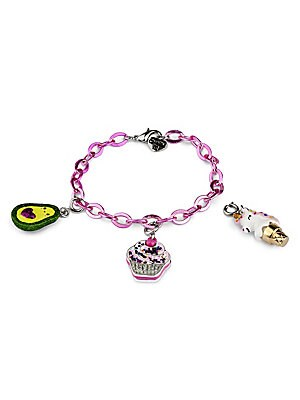 "Image of ONLY AT SAKS This bracelet features interchangeable charms and an included gift box Three 3D charms Pink bracelet CHARM IT! gift box Enamel, acrylic, glitter, poly resin, base metal Charms diameter, about 1"" Adjustable length, about 7.5"" Lobster clasp Mad"