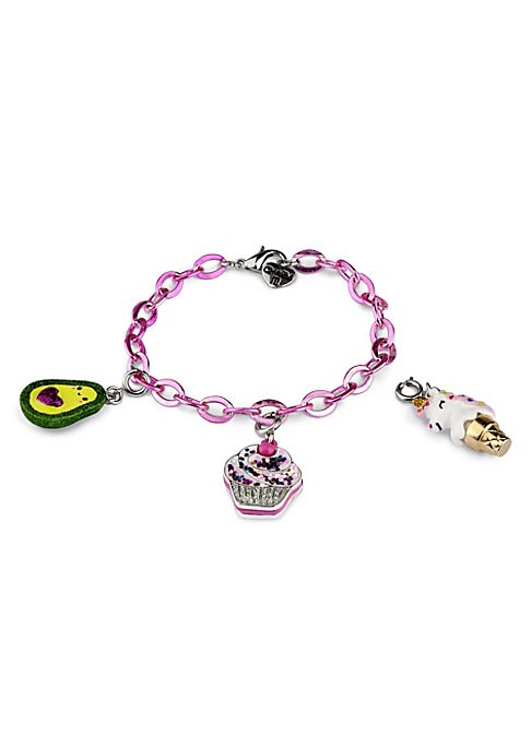 """Image of EXCLUSIVELY AT SAKS FIFTH AVENUE. This bracelet features interchangeable charms and an included gift box. Three 3D charms. Pink bracelet. CHARM IT! gift box. Enamel, acrylic, glitter, poly resin, base metal. Charms diameter, about 1"""".Adjustable length, ab"""