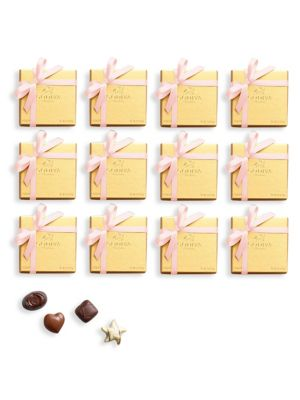 Godiva Chocolatier Set Of 12 Assorted Chocolate Gold Favor Pink Ribbon