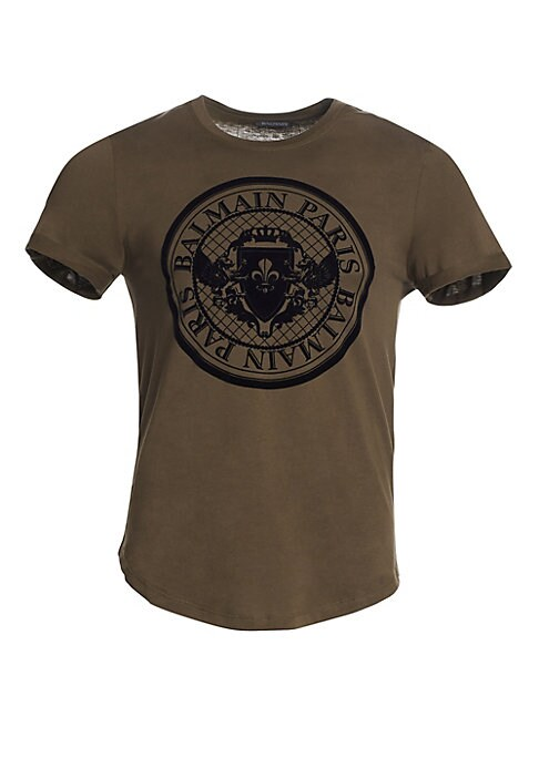 """Image of An oversize coin logo graphic fronts this classic cotton tee. Crewneck. Short sleeves. Pullover style. Cotton. Machine wash. Made in Italy. SIZE & FIT. About 30"""" from shoulder to hem."""