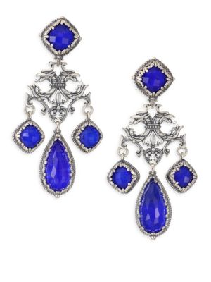 Andromeda Lapis And Sterling Sliver Earrings, Silver