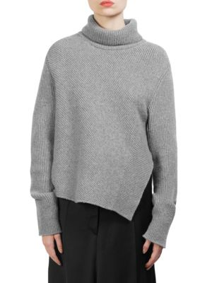 Ribbed Wool And Cashmere-Blend Turtleneck Sweater, Grey