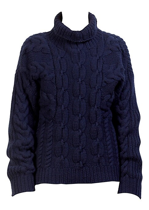 """Image of Knit from a premium blend of virgin wool, this turtleneck sweater is knit with classic cable-knit texture. Turtleneck. Long sleeves. Virgin wool/wool. Dry clean. Made in Italy. SIZE & FIT. About 23"""" from shoulder to hem. Model shown is 5'10"""" (177cm) weari"""