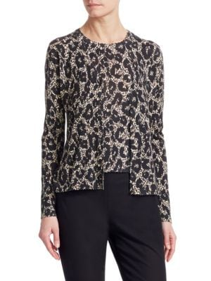 ROBERTO CAVALLI Button-Front Long-Sleeve Leopard-Print Cashmere-Silk Cardigan in Black-White