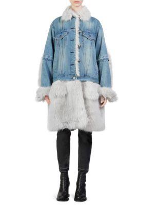 Denim & Faux-Fur Coat, Blue-Grey