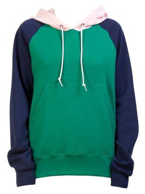 Color Block Hoodie, Green Multi