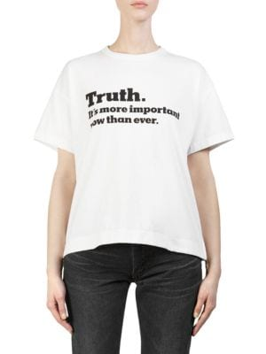Ny Times Truth Crewneck Short-Sleeve Cotton Tee, White