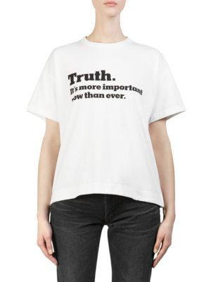 Ny Times Truth Crewneck Short-Sleeve Cotton Tee in White
