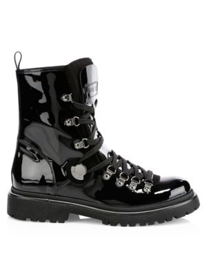 Women'S Berenice Patent Leather Hiker Boots, Black Patent
