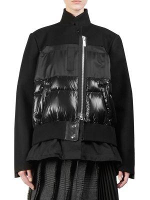 Melton X Layered-Look Jacket in Black