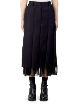 Melton Pleated Midi Skirt by Sacai