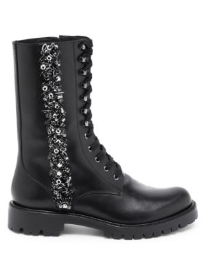 Lace-Up Crystal-Embellished Leather Boots, Black