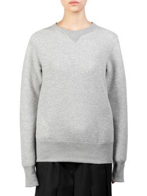 Zip-Detailed Poplin-Paneled Cotton-Blend Jersey Sweatshirt, Light Grey