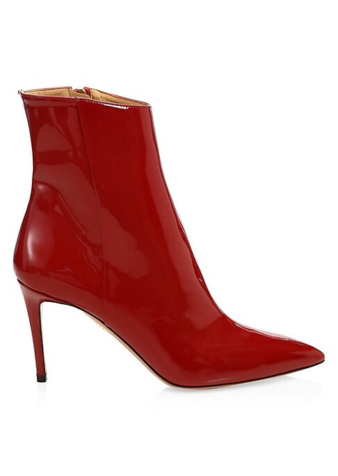 """Image of A high-gloss finish elevates these provocative calf leather booties. Patent leather upper. Point toe. Side zip closure. Leather lining and sole. Made in Italy. SIZE. Self-covered stiletto heel, about 3.25"""" (83.75mm)."""