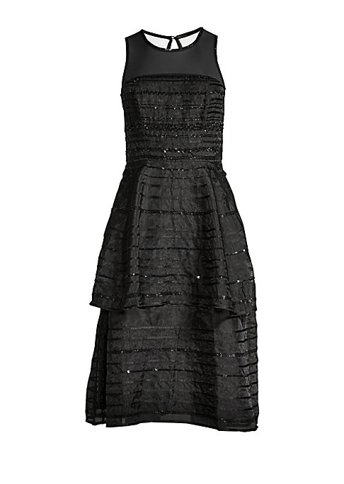 "Image of Sequined stripes merge with mesh yoke on dress. Roundneck. Mesh yoke. Sleeveless. Back keyhole button closure. Banded waist. Tiered skirt. About 43.88"" from shoulder to hem. Polyester. Dry clean. Imported. Model shown is 5'10"" (177cm) wearing US size 4."