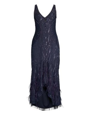PARKER BLACK Sydney Beaded High-Low Gown Dress W/ Feather Hem in Steel Blue