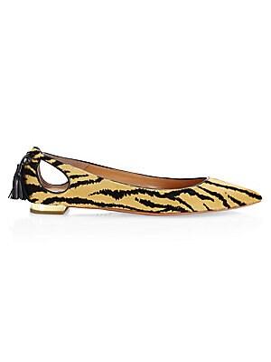 Aquazzura Forever Marilyn tasseled leopard print calf hair