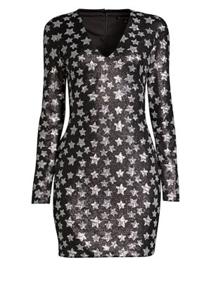 BLACK HALO Alicia Long-Sleeve Dress W/ Sequin Stars in Starry Night