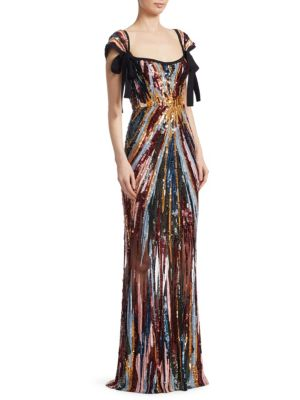 Elie Saab Sequin Removable Bows Gown
