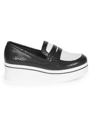 Snake Print Binx Penny Loafers in White Black
