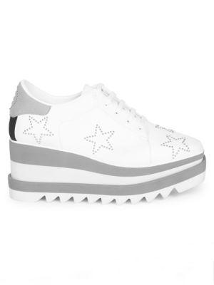 Sneak-Elyse Studded Star Sneakers, White