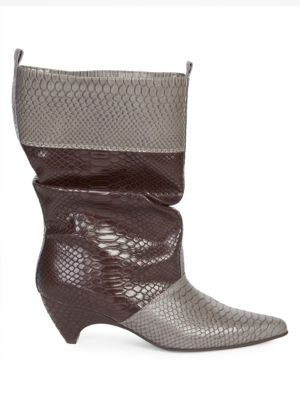 Snake Print Slouchy Boots, Grey