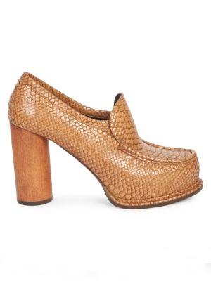 Snake Print Platform Loafers in Brown