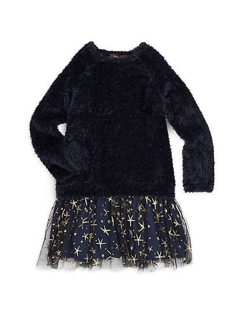 Image of Plush fuzzy sweater dress with a metallic graphic tulle skirt. Crewneck. Long sleeves. Pullover style. Tulle skirt. Nylon/polyester. Hand wash. Imported.