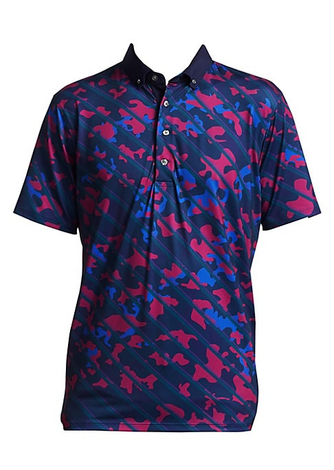"Image of Reptilian accents adorn polo in camo formation. Polo collar. Four-button placket. About 29.5"" from shoulder to hem. Polyester/elastane. Machine wash. Imported."