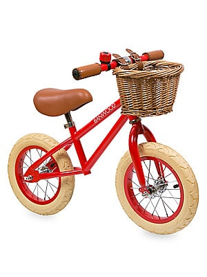 Image of Safe and durable training bicycle without pedals, chain or training wheels. Perfect for your child's balance and steering. No brake system Supports natural motor skills development Assembly required For ages 3-5 years Wicker basket Metal ring bell Vegan l