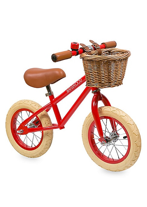 Image of Safe and durable training bicycle without pedals, chain or training wheels. Perfect for your child's balance and steering. No brake system. Supports natural motor skills development. Assembly required. For ages 3-5 years. Wicker basket. Metal ring bell. V
