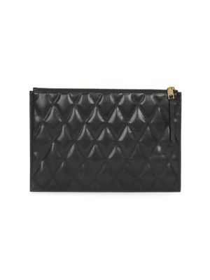 Gv3 Medium Quilted Pouch Clutch Bag in 001 Black
