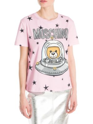 Oversized Logo Printed Jersey T-Shirt, Light Pink