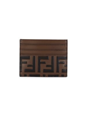 Ff Embossed Leather Card Case by Fendi