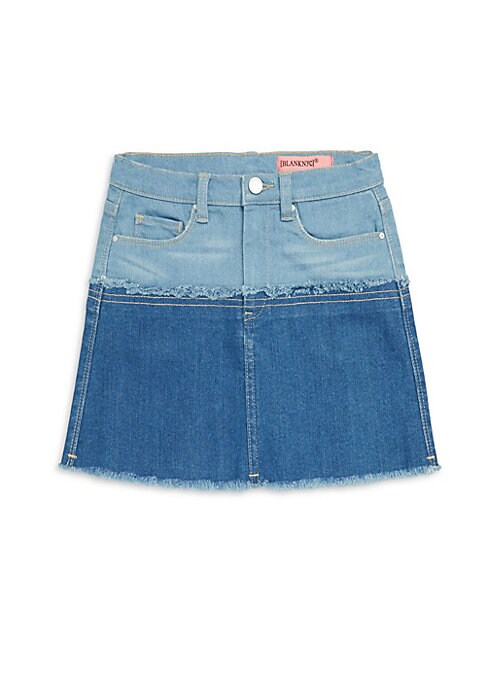 Image of Colorblock denim skirt with distressed detailing. Belt loops. Banded waist. Zip fly with button closure. Five-pocket style. Cotton/spandex. Machine wash. Imported.