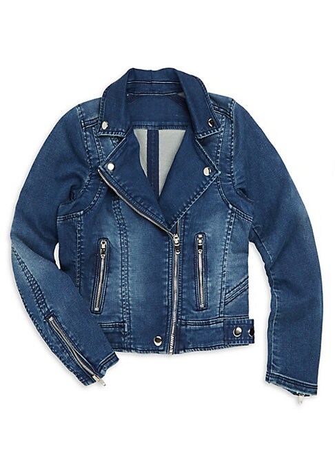 Image of Cool zippered denim jacket with faded fabrication. Spread collar. Long sleeves. Zip cuffs. Exposed front zip. Front zip pockets. Snap tab at hem. Cotton/polyester/spandex. Machine wash. Imported.