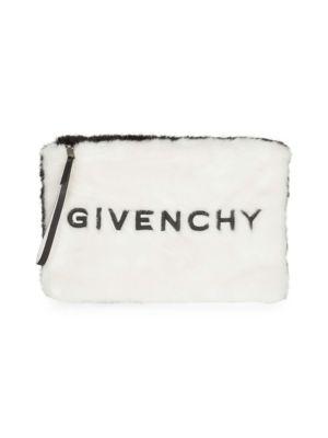 Gv3 Large Faux-Fur Pouch Wristlet Clutch Bag, White Black