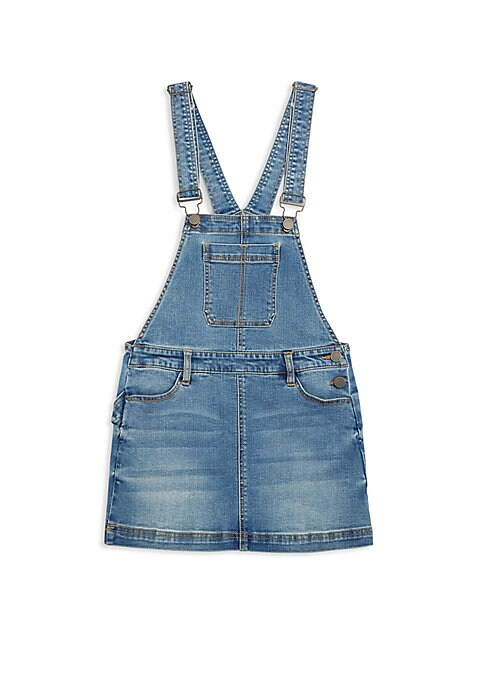 Girls Happy Time Denim Overall Dress