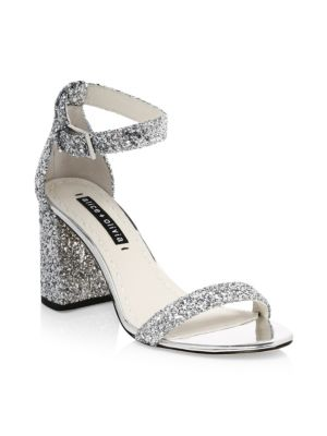 Lillian Glitter Leather Ankle-Strap Heels, Silver
