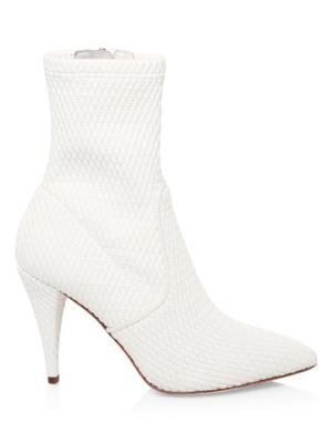 Hedde Stretch Pleather Booties in White