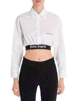 Cropped Classic Logo Band Shirt by Palm Angels