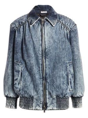 Padded Oversized Washed Denim Jacket, Blue