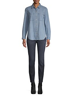 8d8f2c68 Eileen Fisher. Organic Cotton Denim Button-Down Shirt