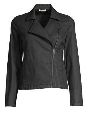 Waxed Organic Cotton Moto Jacket, Plus Size in Black