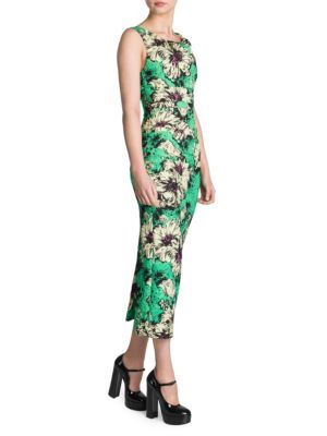 Ruched Floral-Print Silk-Blend Cloqué Midi Dress, Green Floral